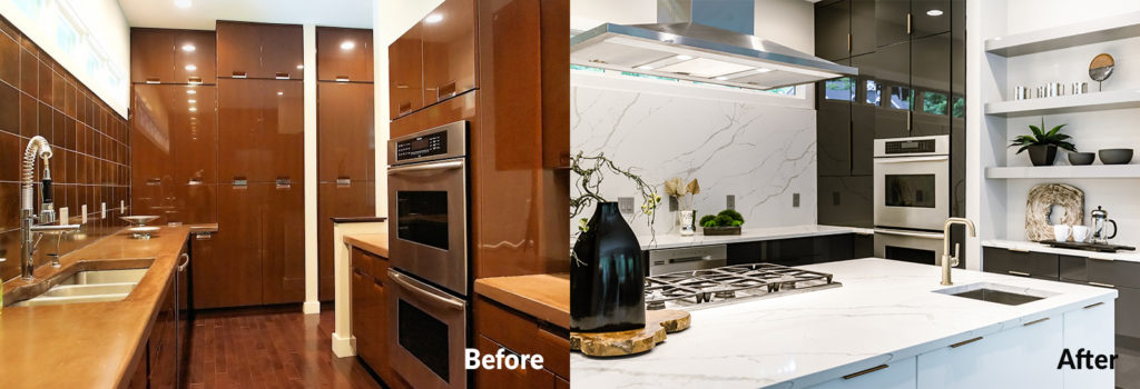 Before and After images of kitchen renovations.